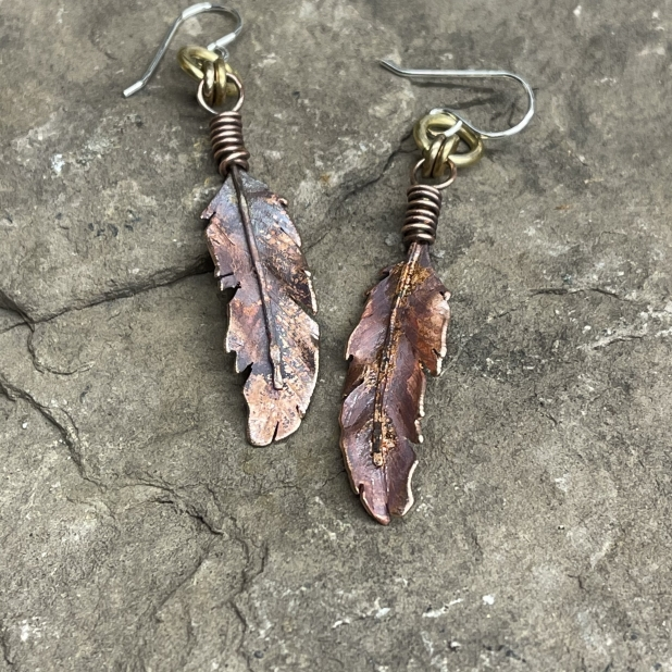 Copper feather earrings, view 2