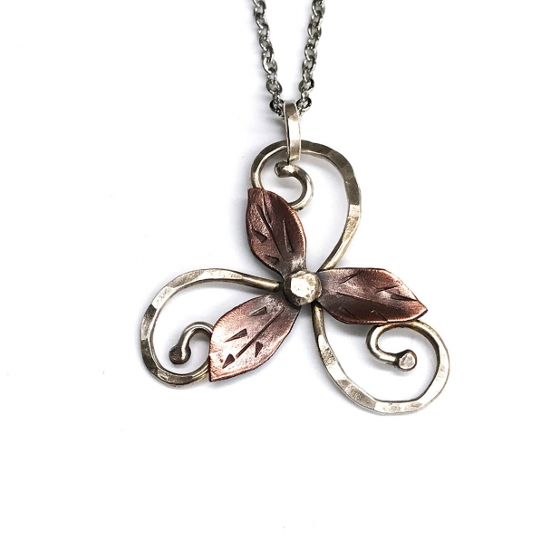triskelion necklace, sterling & copper