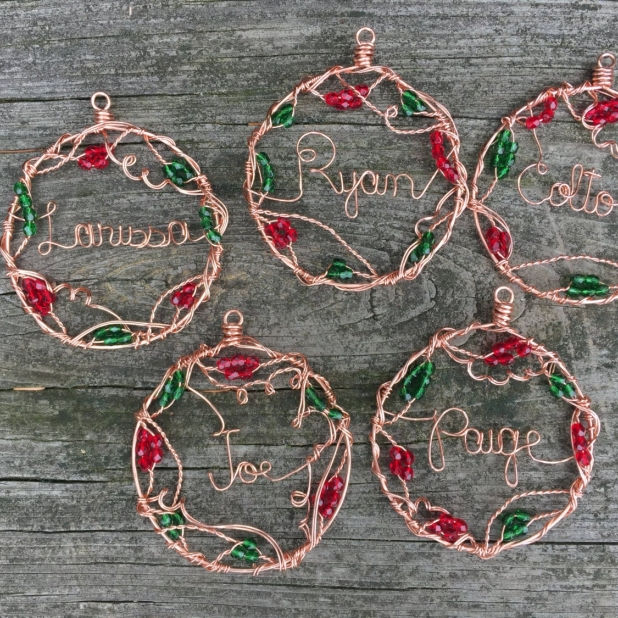 copper wire written name ornament examples