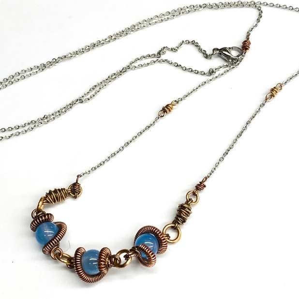 Blue Agate Coil Wrapped Necklace