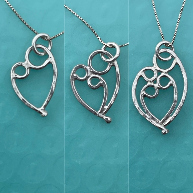 Mother & 1, 2, or 3 child pendant on sterling box chain necklace.