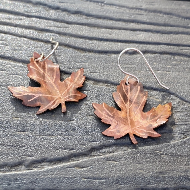 copper maple leaf flame patinaed earrings2