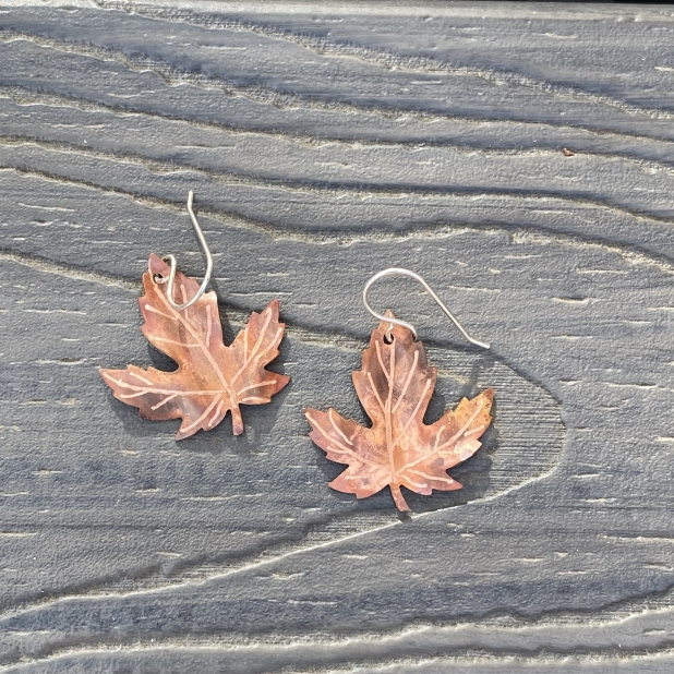 copper maple leaf flame patinaed earrings3