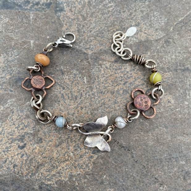 Butterfly bracelet, mixed metals & beaded links, view 2
