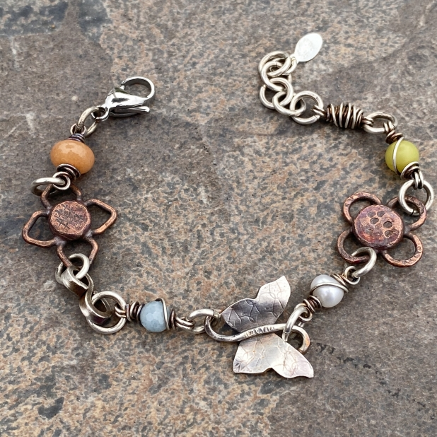 Butterfly bracelet, mixed metals & beaded links, view 1