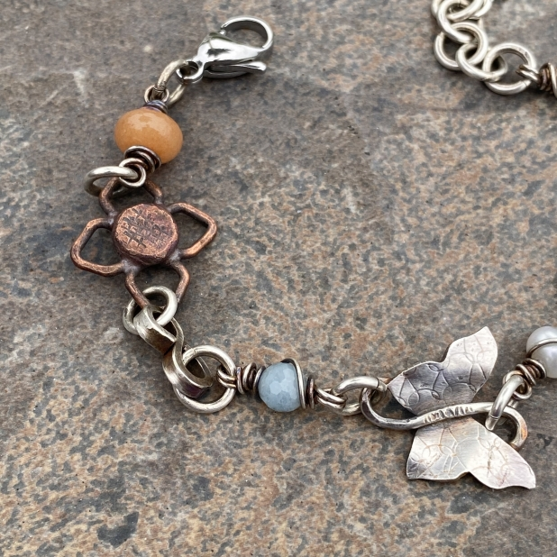 Butterfly bracelet, mixed metals & beaded links, view 3