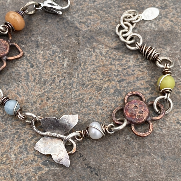Butterfly bracelet, mixed metals & beaded links, view 4