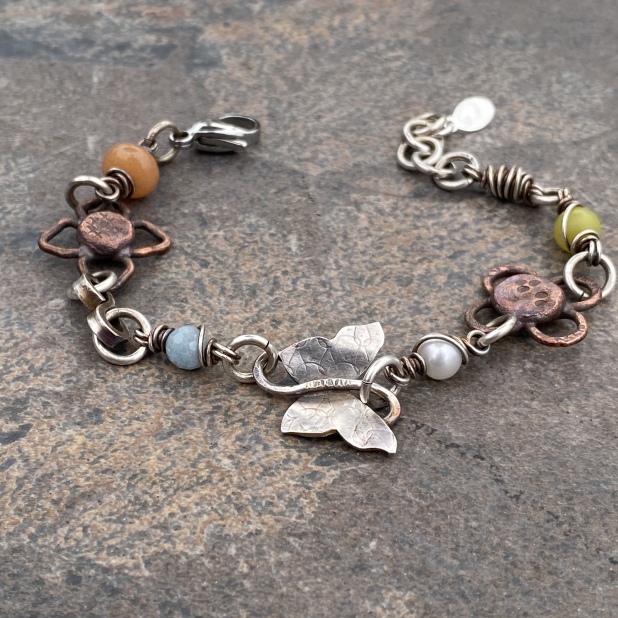 Butterfly bracelet, mixed metals & beaded links, view 5