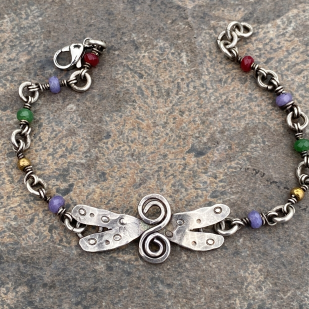 sterling dragonfly & misc beaded link bracelet, view 2