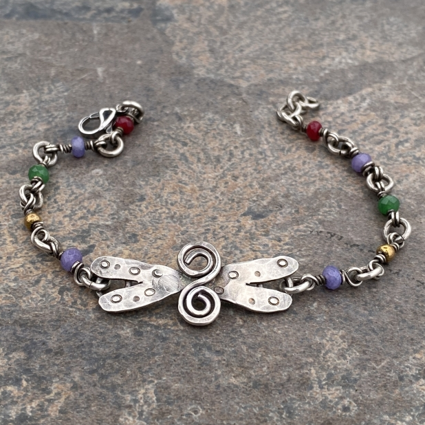 sterling dragonfly & misc beaded link bracelet, view 3