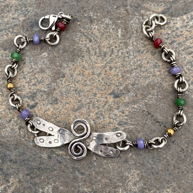 sterling dragonfly & misc beaded link bracelet, view 4