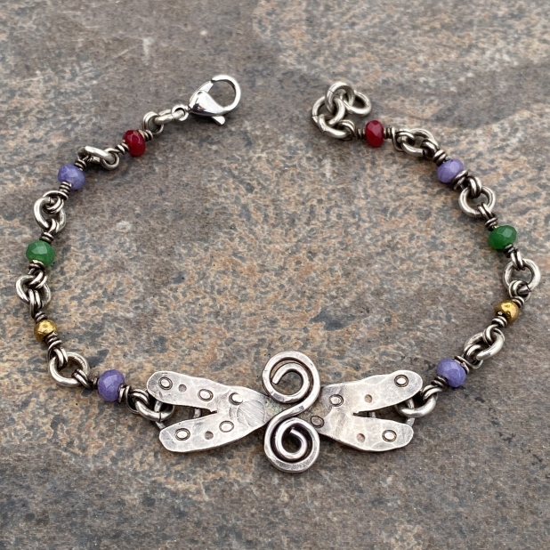 sterling dragonfly & misc beaded link bracelet, view 1