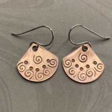 Copper Spiral Textured Fan Earrings