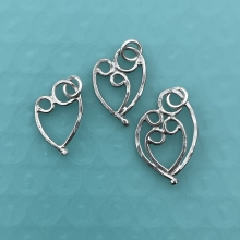 Mother & 1, 2, or 3 child pendant, sterling silver.