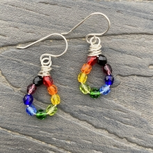 Sterling Czech Glass Rainbow earrings