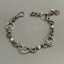 Mixed Metal Bracelet, Circles, S-links, Mother-of-Pearl, photo 1