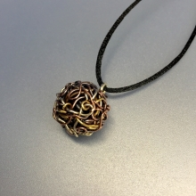 woven ball necklace, copper, sterling, brass