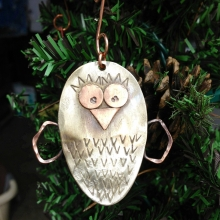 spoon owl chick ornament