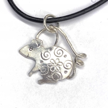 rat, mouse, rodent necklace, sterling silver