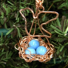 copper birds nest ornament