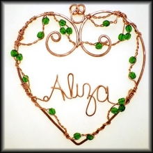 Copper Wire Written Heart Ornament
