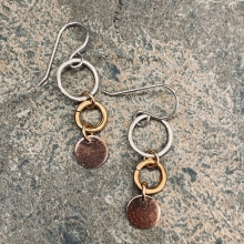 Three x three mixed metal earrings
