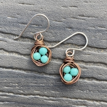 copper birds nest earrings1