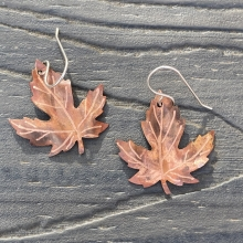 copper maple leaf flame patinaed earrings1