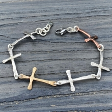 Six Crosses Bracelet, Sterling, Brass, Copper, photo 1