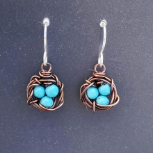 Bird's nest earrings, copper & turquoise blue howlite, photo 1