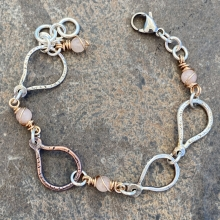"Oval ""Balloon"" Links Bracelet w pink morganite beads, photo 1"