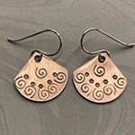 copper fan spiral-stamped earrings